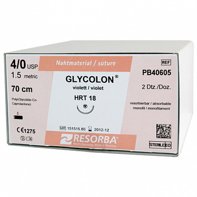 Resorba Glycolon, DSM 13, 6-0 USP, 0.45 м, неокрашен.